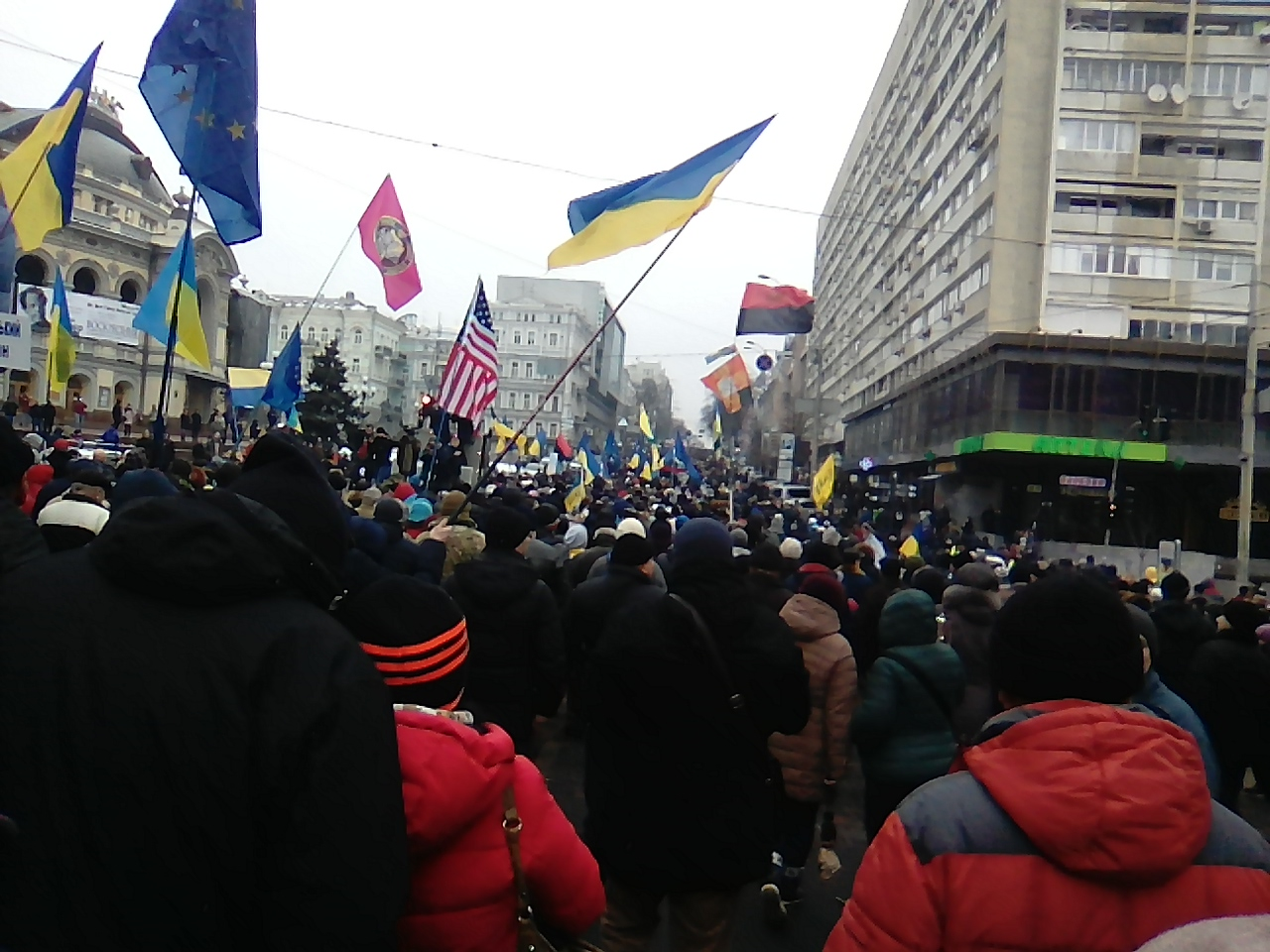 Владимирская улица. Шествие противников коррупции в Киеве.